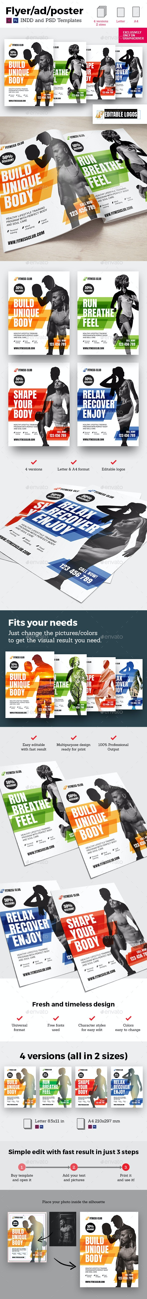 4x Fitness Universal Flyer/Ad/Poster Banner InDesign and Photoshop Template - Sports Events