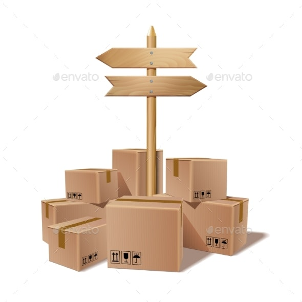 Pile of Stacked Sealed Goods Cardboard Boxes - Miscellaneous Vectors