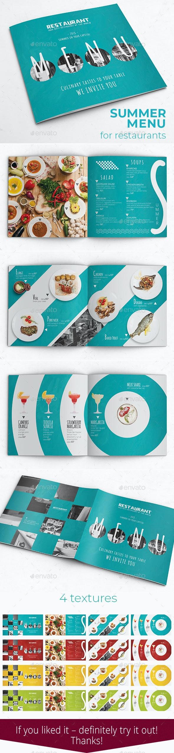 Summer Brochure Menu - Food Menus Print Templates
