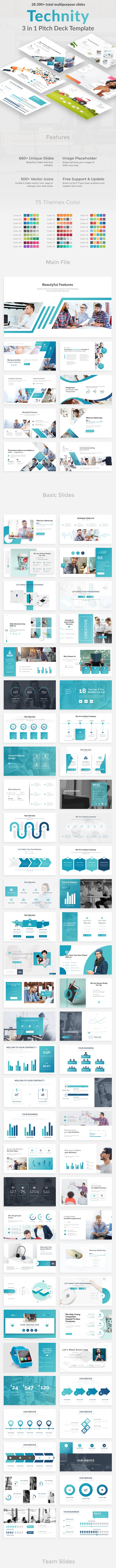 Technity 3 in 1 Pitch Deck Bunndle Powerpoint Template - Creative PowerPoint Templates