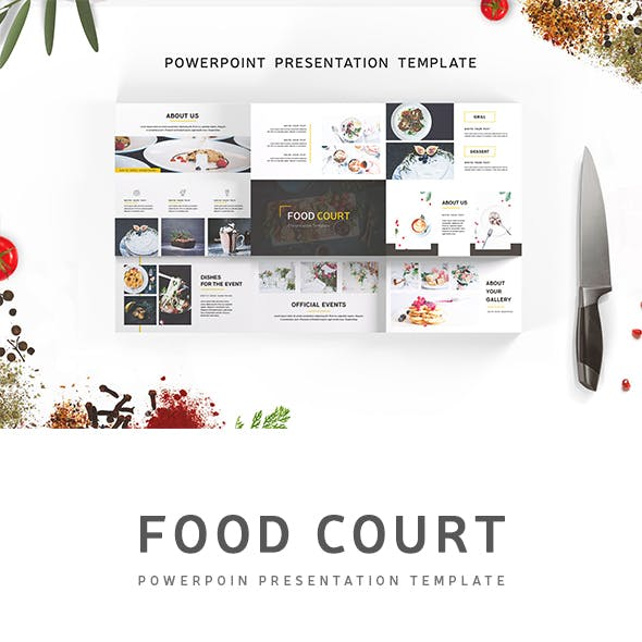 Food Court PowerPoint Template Presentations