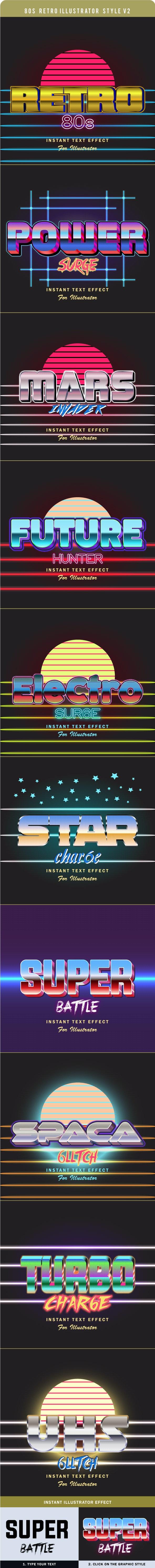 80s Retro Illustrator Style V2 - Styles Illustrator