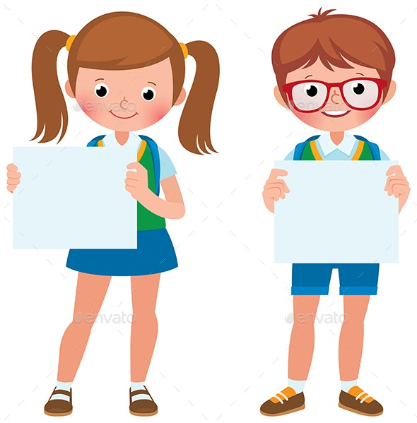 Two Student Girl and Boy are Holding Empty Sign - People Characters