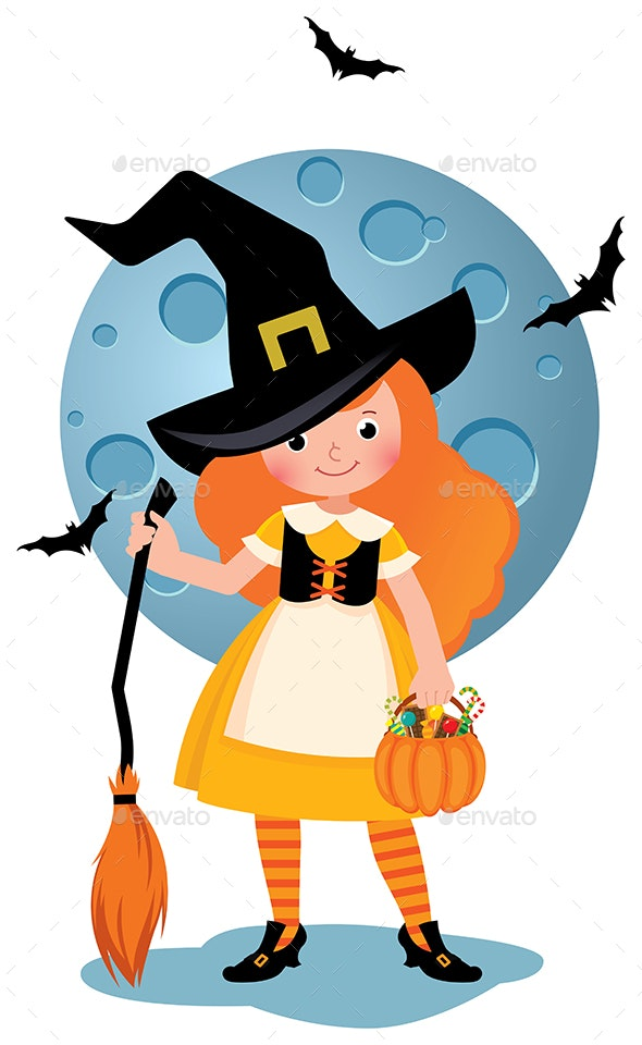 Girl in Witch Costume Halloween Party - Halloween Seasons/Holidays