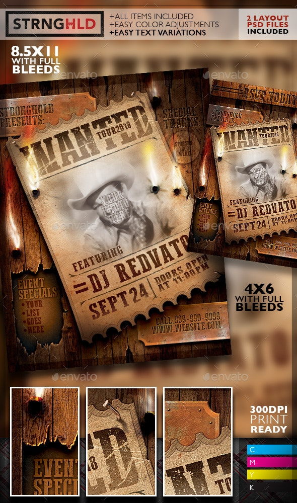 Vintage Wanted Poster Flyer Template - Events Flyers