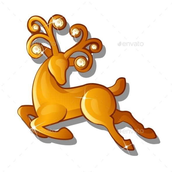 Gold Figure of a Galloping Reindeer Isolated - Animals Characters