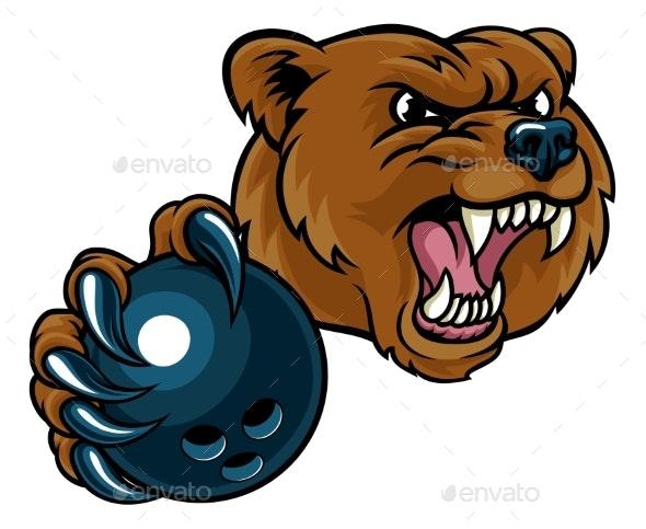 Bear Holding Bowling Ball - Sports/Activity Conceptual