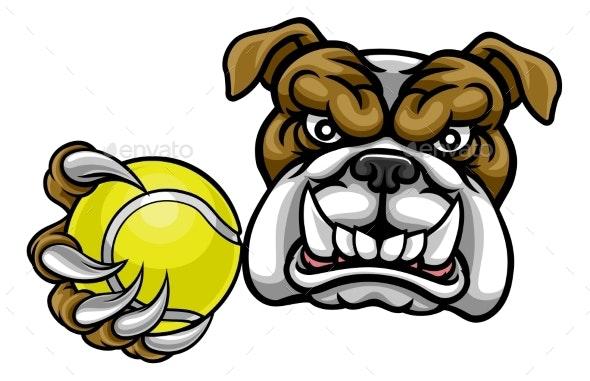 Bulldog Dog Holding Tennis Ball Sports Mascot - Sports/Activity Conceptual