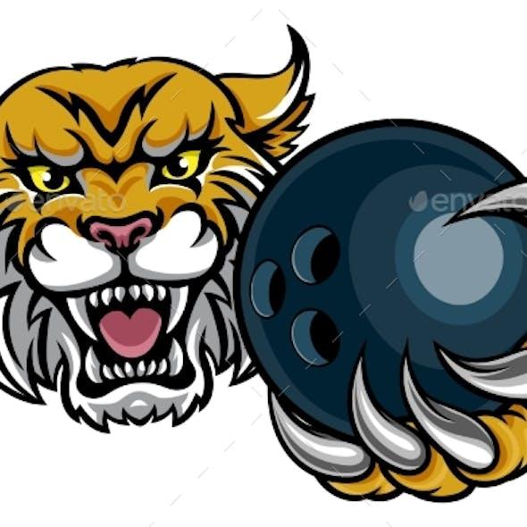 Wildcat Holding Bowling Ball Mascot