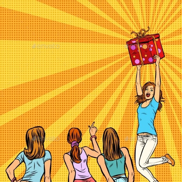 Women Shoppers Look at the Girl with a Gift