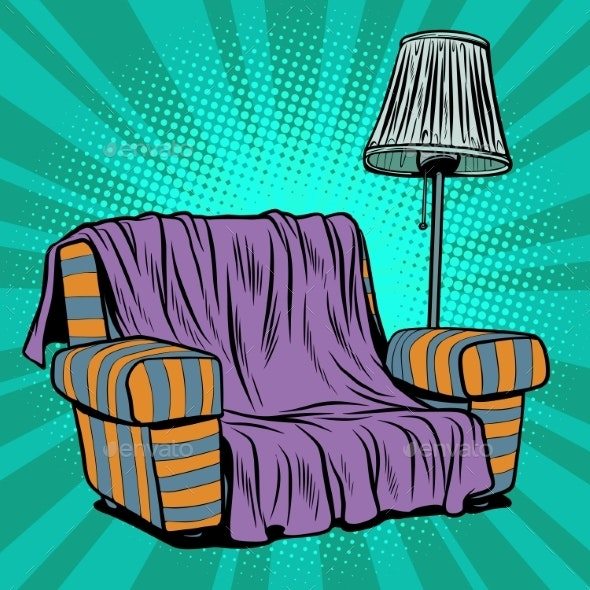 Armchair Sofa with Floor Lamp - Man-made Objects Objects