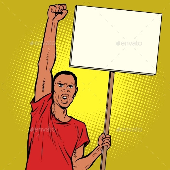 Man Protests with a Poster - People Characters
