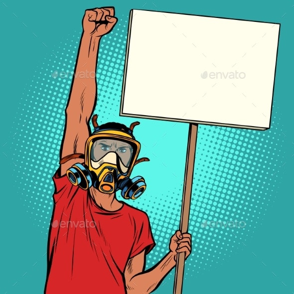 Man Protest Against Polluted Air Ecology - People Characters