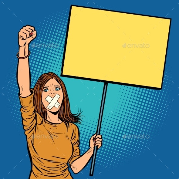 Woman with Covered Mouth Protests - People Characters