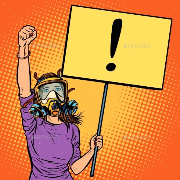 Woman in Gas Mask Protesting Against Polluted Air - People Characters