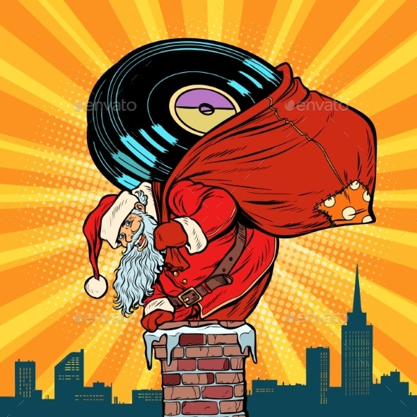 Santa Claus with Vinyl Records Climbs - Christmas Seasons/Holidays