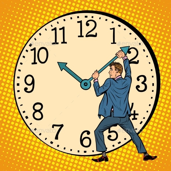 Man Wants To Stop the Clock - Concepts Business