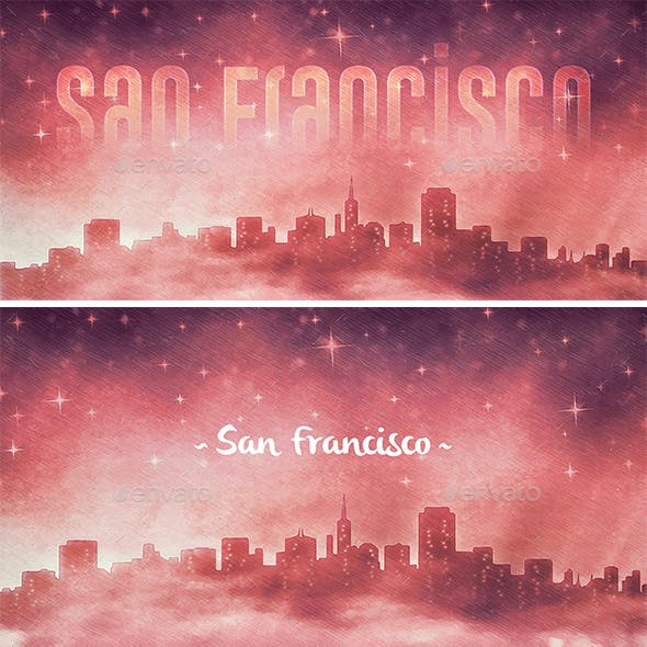 San Francisco Skyline at Night Backgrounds