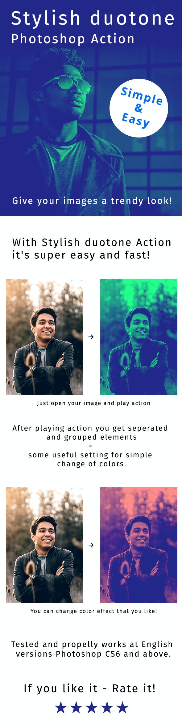 Stylish Duotone Photoshop Action - Actions Photoshop