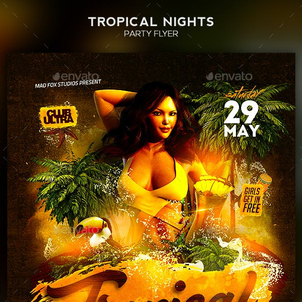 Tropical Nights Party Flyer