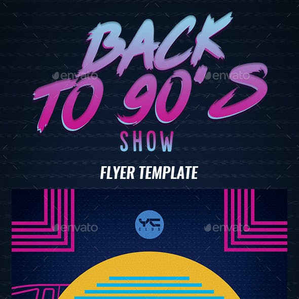 Back to the 90's show Flyer Template