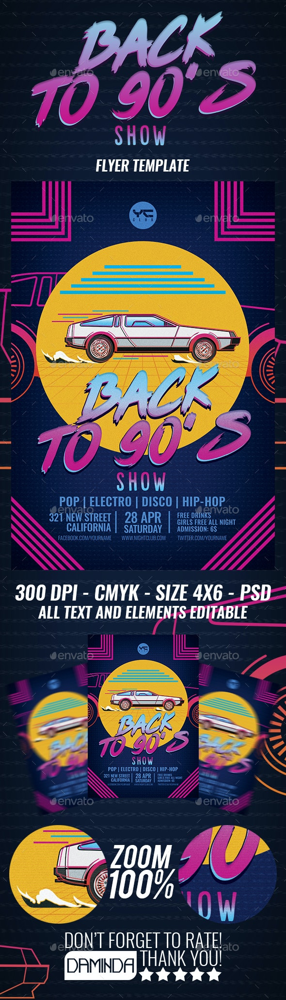Back to the 90's show Flyer Template - Clubs & Parties Events