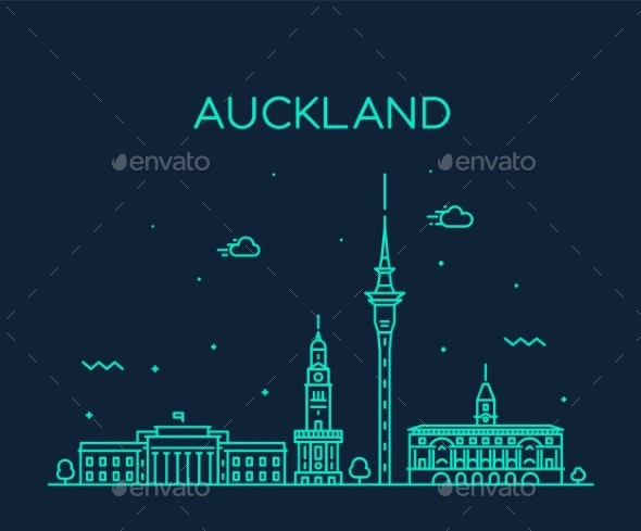 Auckland City Skyline New Zealand Vector Linear - Buildings Objects