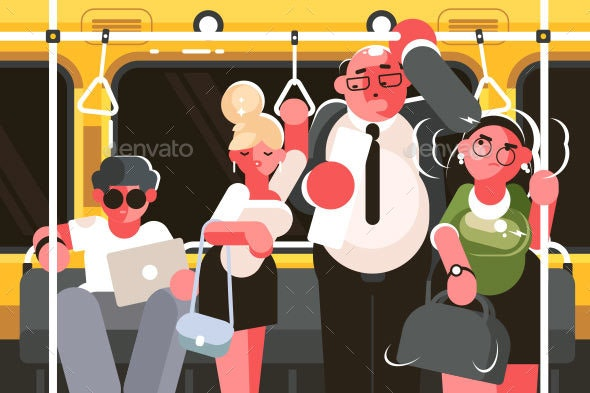 Passengers in Subway Car - Miscellaneous Vectors