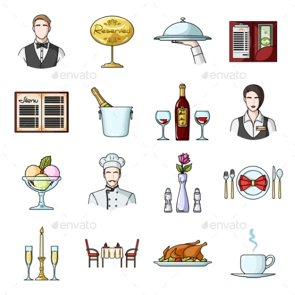 Restaurant and Bar Cartoon Icons - Food Objects