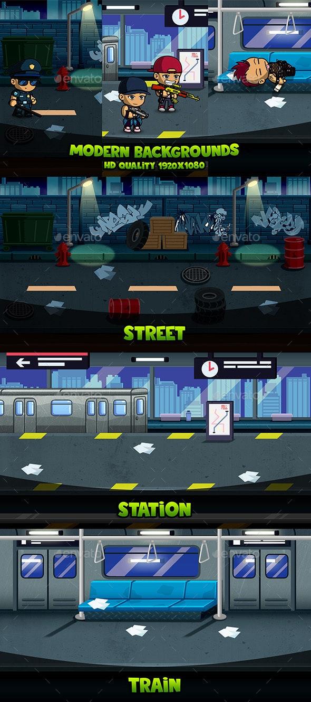 Modern Backgrounds - Backgrounds Game Assets
