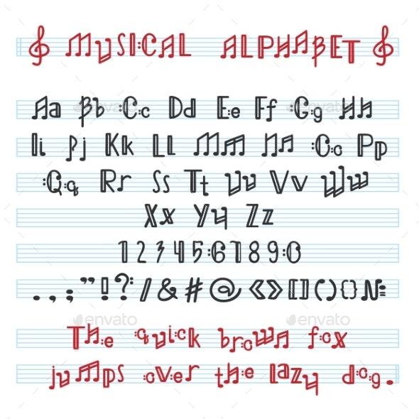 Alphabet ABC Vector Musical Alphabetical Font - Abstract Conceptual