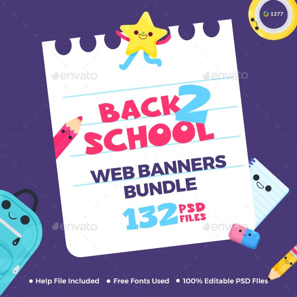 Back to School Web Banner Set Bundle - 8 Sets - 132 Banners - Banners & Ads Web Elements