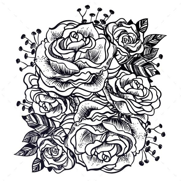 Wild Field Rose Summer Flowers