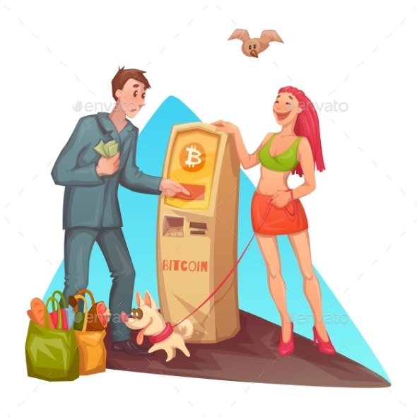 Vector Cartoon Man at Bitcoin ATM - Miscellaneous Vectors