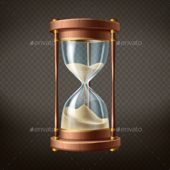 Vector Realistic Hourglass with Running Sand - Man-made Objects Objects