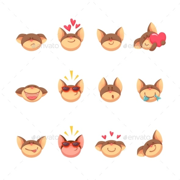 Cartoon Cat Set Icons - Animals Characters