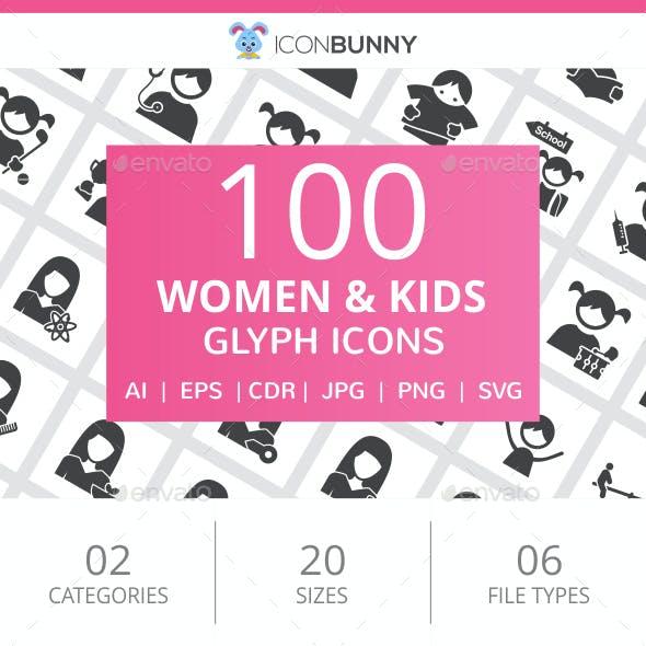 100 Women & Kids Glyph Icons