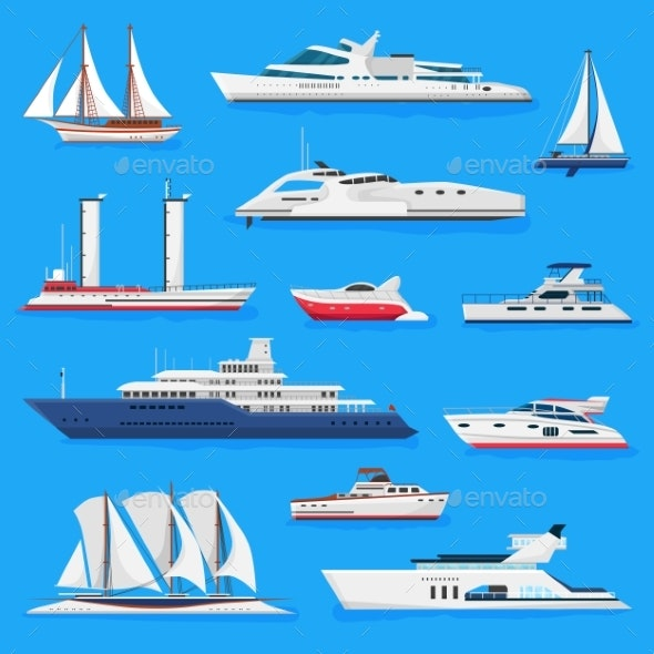 Ships Vector Boats or Cruise Travelling in Ocean - Man-made Objects Objects