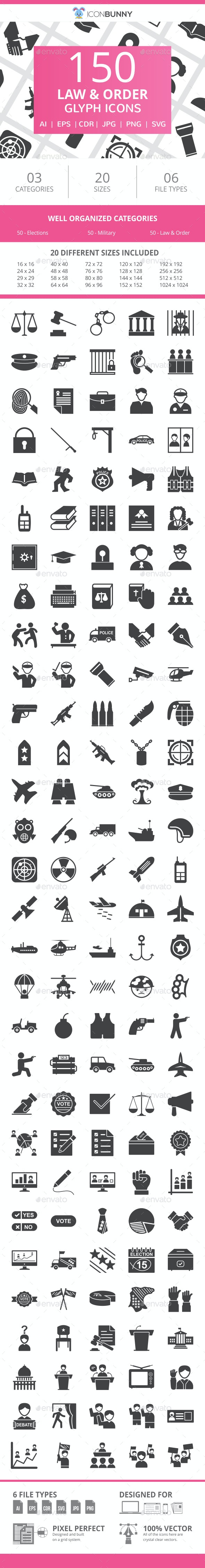 150 Law & Order Glyph Icons - Icons