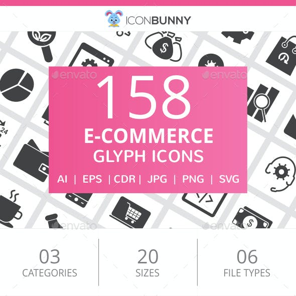158 E-Commerce Glyph Icons