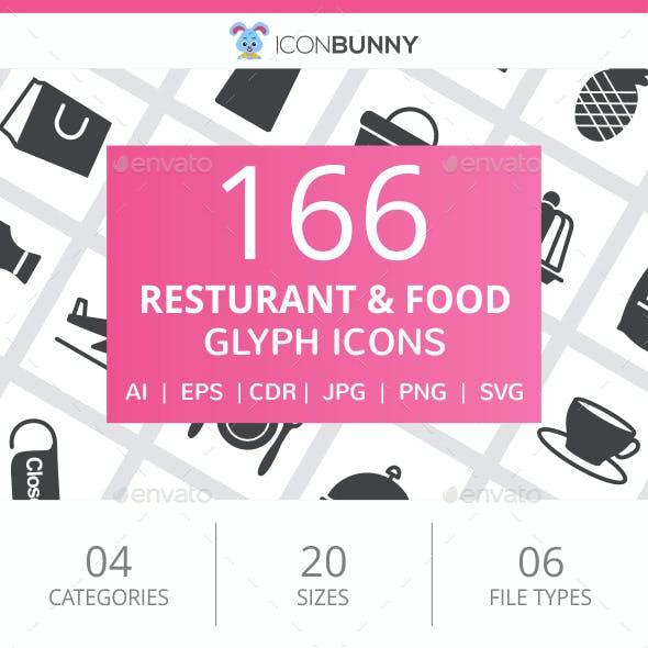 166 Restaurant & Food Glyph Icons