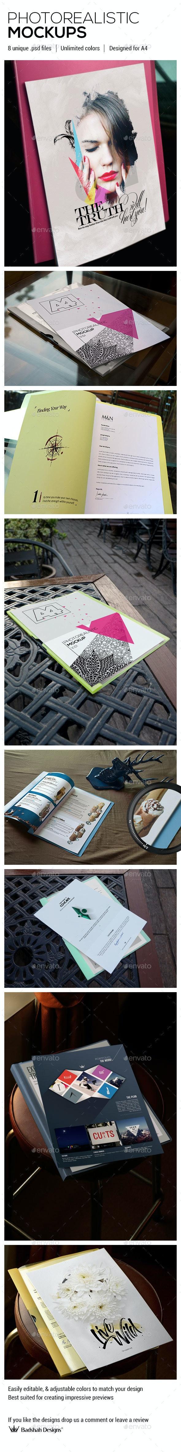 A4 Photorealistic Mockups - Print Product Mock-Ups