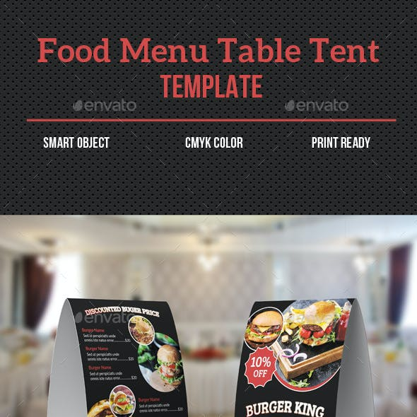 Food Menu Table Tent
