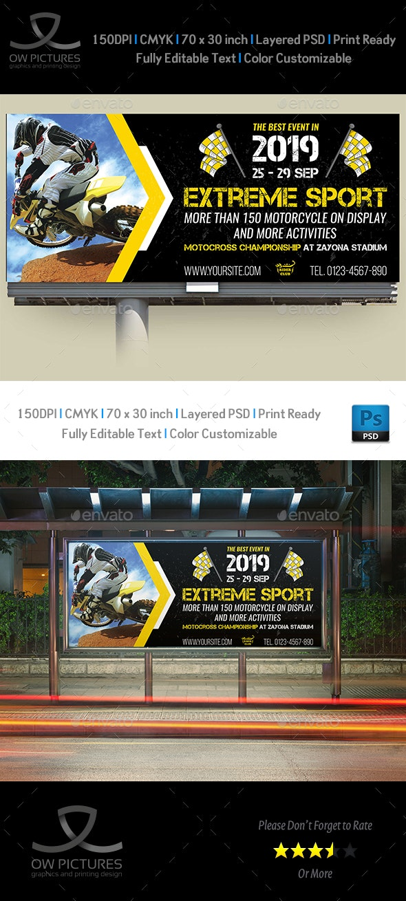 Extreme Sport Billboard Template - Signage Print Templates