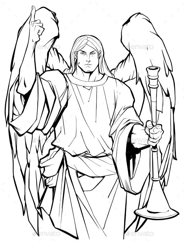 Archangel Gabriel Line Art - Religion Conceptual