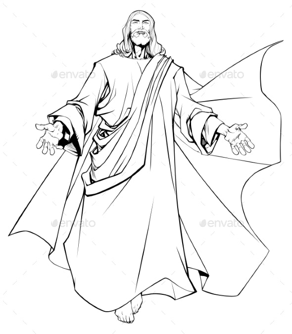 Jesus Open Arms Line Art - Religion Conceptual