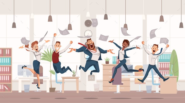 Happy Office Workers Jumping - Concepts Business