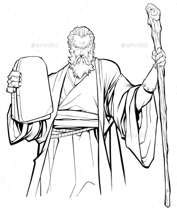 Moses Line Art - Religion Conceptual