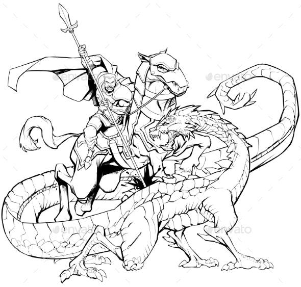 Saint George Slaying the Dragon Line Art - Religion Conceptual