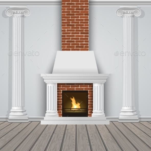 Classic Interior Wall with Fireplace